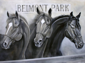 painting of horses at Belmont Park