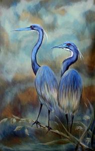 Painting of Blue Herons