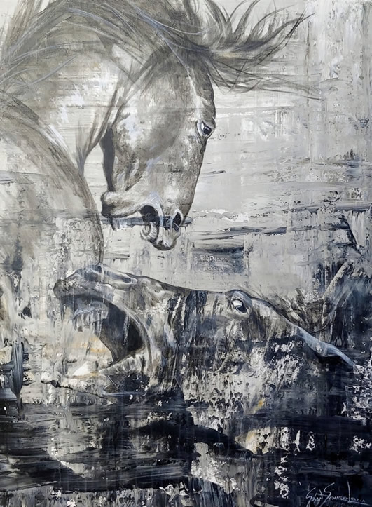 Painting of 2 horses fighting