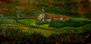 Painting of Dusk at the Vineyard