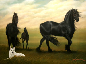 Painting of black horses and a white dog called Friesian Family