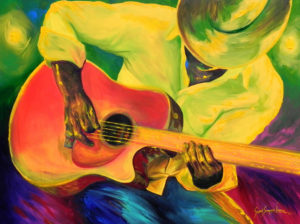 Painting of a man playing a guitar named Honky Tonkin