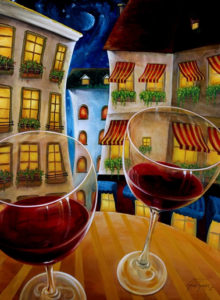 Painting of a wine bottle and glasses full of wine