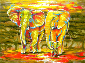 Painting of elephants named Ubunto