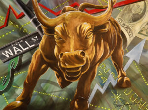 Painting of the Wall Street Bull