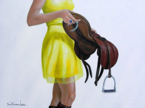 Painting of a lady in a yellow dress holding an English saddle