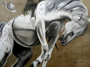 Painting of a horse named Young Buck