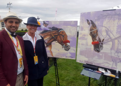 Dan Tjdordin of America's Best Racing and Susan the Official Artist of the Preakness Stakes