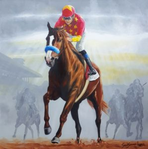 Painting of triple crown winner JUSTIFY
