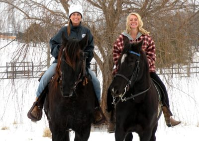 SUSAN AND HER FRIEND SHEILA RIDING HORSES IN SPARTA MISSOURI