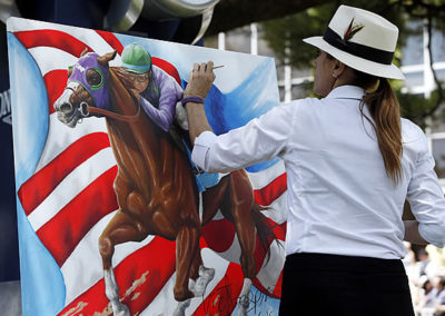 Susan LIVE at the Belmont Stakes in the Paddock as Official Triple Crown Artist painting California Chrome