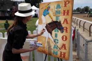Susan Painting American Pharoah at The Belmont Stakes