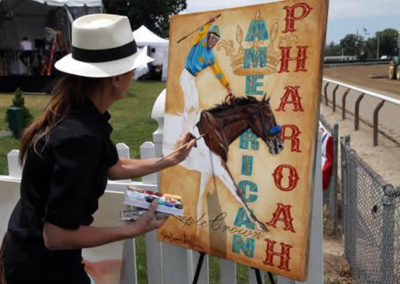 Susan Painting American Pharoah at The Belmont Stakes