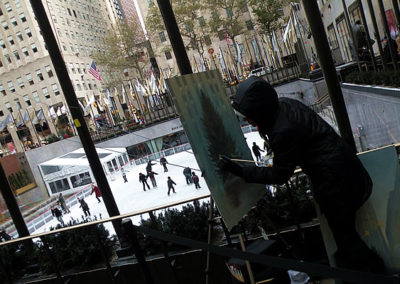 Susan Painting The Christmas Tree at Rockefeller Center in NYC