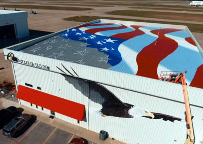 Susan Painting a Giant American Flag Mural - Aerial View