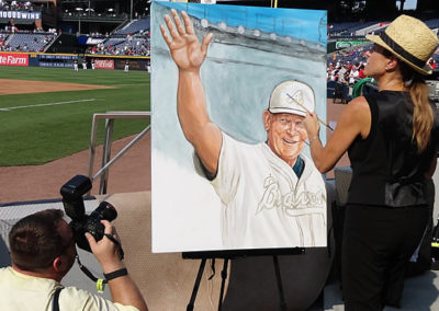 Susan Painting a Portrait of Bobby Cox at Sun Trust Park