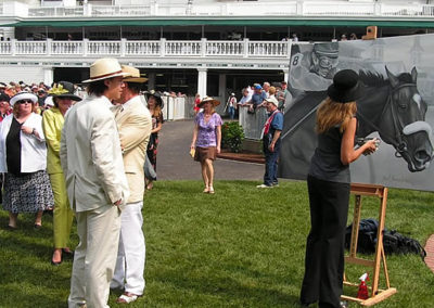 Susan Painting Barbaro in the Paddock at Kentucky Derby