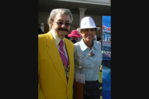 Susan and her friend Leroy Neiman in the Paddock at the Kentucky Derby