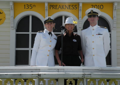 Susan and veterans on the famed Coupola porch as official artist of the Preakness Stakes