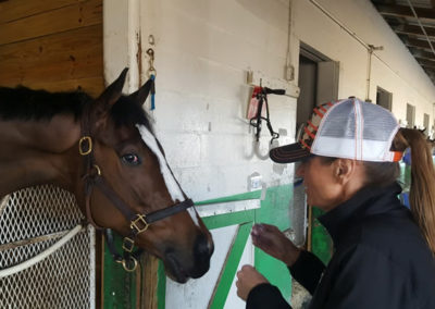 Susan giving mints to her race horse at Tampa Bay Downs