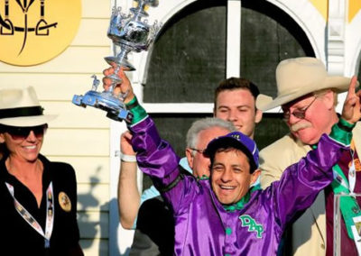 Susan in the Winners Circle with Victor Espinoza at the Preakness Stakes