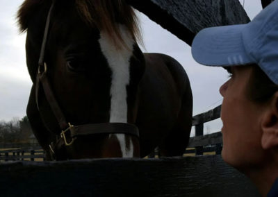 Susan says goodbye to her race horse in Kentucky